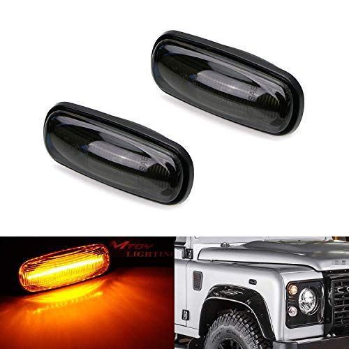iJDMTOY Smoked Lens Amber Full LED Front Side Marker Light Kit Compatible With 1998-15 Land Rover Defender, 02-05 Freelander & 98-04 Discovery 2 LR2, Powered by 16-SMD LED, Replace OEM Sidemarkers