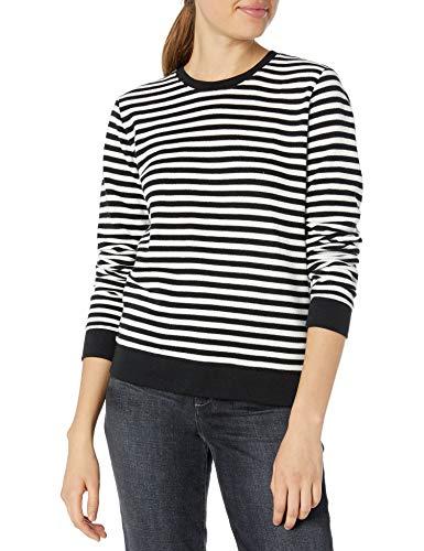 Lucky Brand Women's Stripe Scoop Neck Pullover Sweatshirt, Black Multi, XS