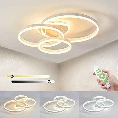 LED Lámpara de Techo Regulable, 65W 6500LM LED Luces de Techo Moderna con Función de Memoria, 3000k-6000k, Candelabro de Acrílico Para Sala de Estar, Dormitorio, Oficina, L70cm*W50cm*H22cm, 3 Anillos