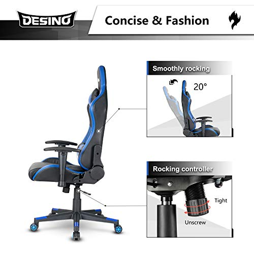 DESINO Gaming Chair Racing Style High Back Computer Chair Swivel Ergonomic Executive Office Leather Chair with Footrest and Adjustable Armrests (Blue)