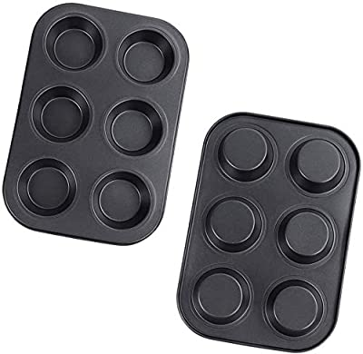 Uncle Jack Perfect Results Premium Non-Stick Bakeware Muffin and Cupcake Pan, 6-Cup, STANDARD 2 Set (2)