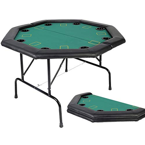 "LUCKYERMORE Poker Table 8 Player 48"" Octagon Folding Texas Poker Blackjack Game Table with Cup Holder"