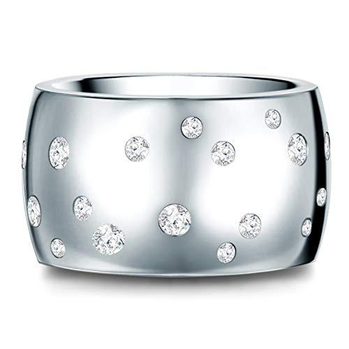 Ring Edelstahl verziert mit Kristallen von Swarovski® weiß