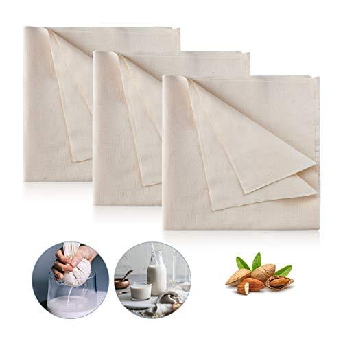 AIEVE 3 Stück Filter Cloth Käsetuch Siebtuch Passiertuch Filtertuch 100% Baumwolle Tuch Set Wiederverwendbar für Nussmilch Suppe Obstsaft joghurt zur Käseherstellung (95 x 98cm)