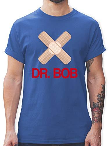 Karneval & Fasching - Dr. Bob Kostüm Pflaster - 3XL - Royalblau - Verkleidung Kostüm - L190 - Tshirt Herren und Männer T-Shirts