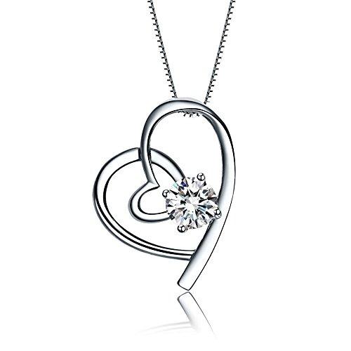 HZY Accessoires- Collana da donna con ciondolo in argento sterling 925a forma di cuore e un elemento in cristallo Swarovski, lunghezza 45 cm