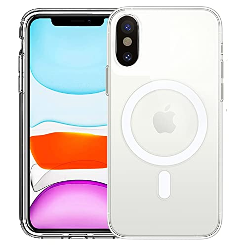 HVDI Clear Magnetic Case for iPhone X/Xs with Mag-Safe Wireless Charging, Soft Silicone TPU Bumper Cover, Thin Slim Fit Hard Back Shockproof Anti-Yellow Protective Case for iPhone Xs/X(5.8 inch)