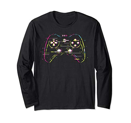 Glitchy Glitched Vaperwave Game Controller Pad Remote Langarmshirt