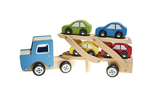 Juguetutto - Camión Transporta coches - AZUL - Juguete de madera