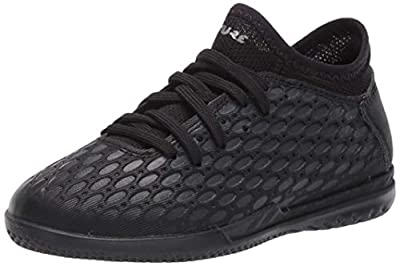 PUMA Unisex-Child Future 5.4 Indoor Trainer Soccer Shoe, Black-Asphalt, 4.5 M US Big Kid