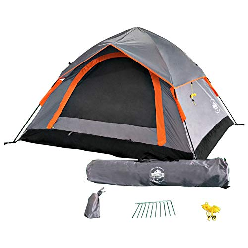 Lumaland Outdoor leichtes Pop Up Wurfzelt 3 Personen Zelt Camping Festival etc. 210 x 190 x 110 cm robust Grau