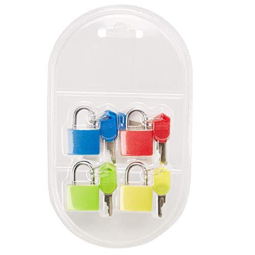 Mini Padlock Luggage Locks with Keys (4 Pack)