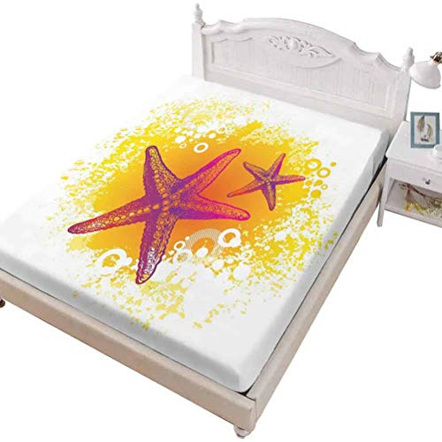 SoSung Twin Size Fitted Sheet 3D Printed with Starfish Summer Boards,Summer Sea Travel Retro Boards of Ship Deck Rope,Bed Cover with All-Round Elastic Deep Pocket for Comfort