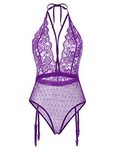 Meaneor Fashion_Origin - Lencería sexy para mujer, cuello en V, transparente, con liguero morado M