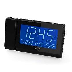 Magnasonic Alarm Clock Radio with Time Projection, Auto Dimming, Battery Backup, Dual Gradual Wake Alarm, Auto Time Set, Large 4.8 LED Display, AM/FM (CR62)