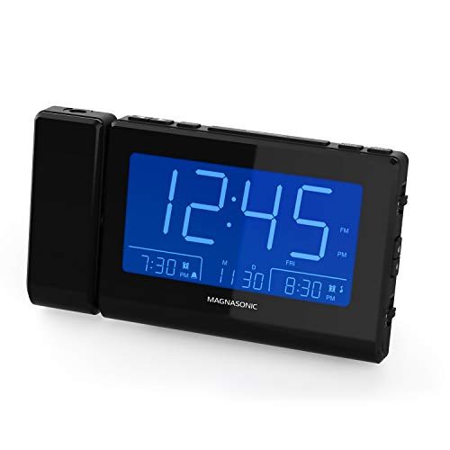 "Magnasonic Alarm Clock Radio with Time Projection, Auto Dimming, Battery Backup, Dual Gradual Wake Alarm, Auto Time Set, Large 4.8"" LED Display, AM/FM (CR62)"