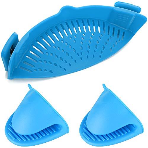 YuCool Silikon-Sieb zum Anklipsen, hitzebeständiger Abtropffilter für Seiher und Sieb Snaps an Schüsseln, Töpfen und Pfannen, mit 2 Silikonhandschuhen, Blau