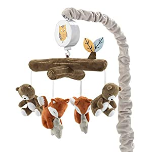 Lambs & Ivy Sierra Sky Brown Bear/Fox Musical Baby Crib Mobile Soother Toy