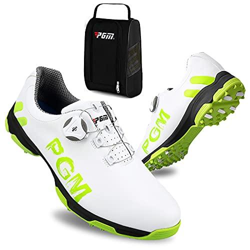 Scarpe da Golf da Uomo, Scarpe da Golf Professionali Leggeri Impermeabili Scarpe da Golf Antiscivolo Traspiranti per Sport all'Aria Aperta Scarpe da Passeggio+Borsa per Scarpe da Golf,Verde,42