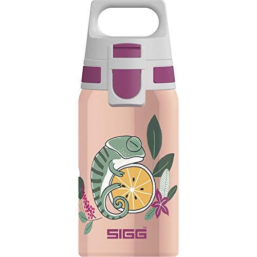 SIGG Shield One Flora Kinder Trinkflasche (0.5 L), Edelstahl Kinderflasche mit auslaufsicherem Deckel, einhändig bedienbare Wasserflasche