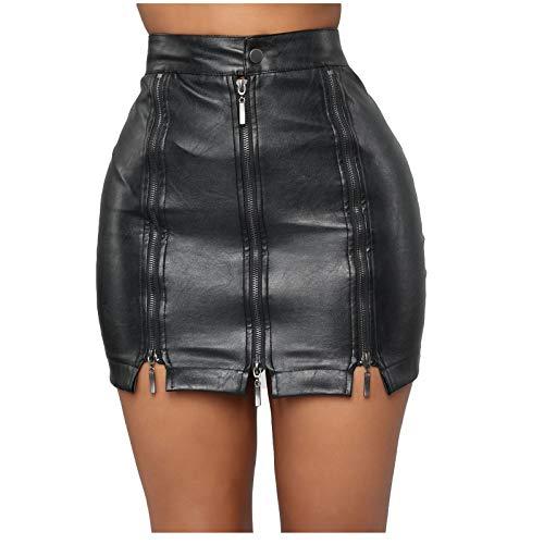 HEling Falda de Piel con Cremallera Minifaldas de Cuero con Botones Sólidos Y Cintura Alta para Mujer
