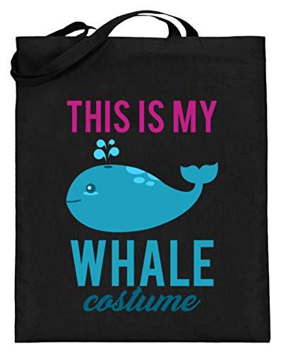 El disfraz de mi ballena es un bonito disfraz de ballena con diseño de peces marinos – Diseño sencillo y divertido – Bolsa de yute (con asas largas), color Negro, talla 38cm-42cm