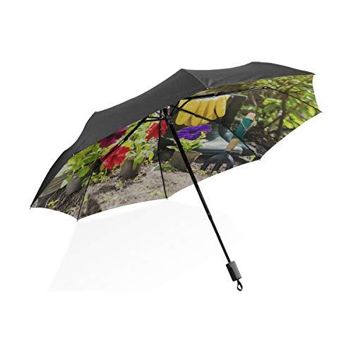 Regenschirm Kinder Gartengeräte und Strohhut Tragbarer kompakter Klappschirm Anti-UV-Schutz Winddicht Outdoor Travel Frauen Little Kid Regenschirm