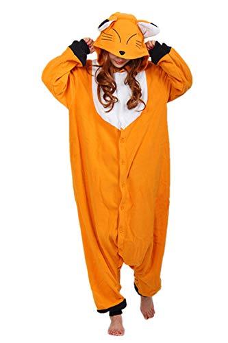 wotogold Pijama de Zorro Animal Trajes de Cosplay Adultos Unisex Dark Yellow