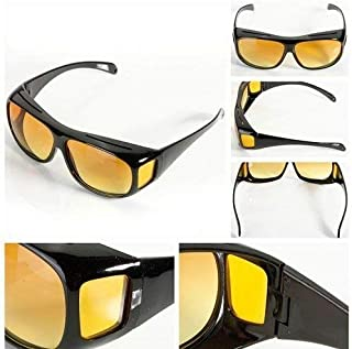 SADGUN ® Plastic Impressive Wear over Prescription Polarized Unisex Square Sunglasses and Night Vision Glasses Combo Pack...