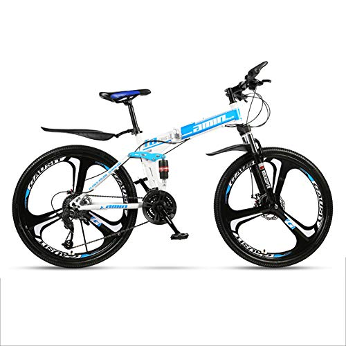 WJH 26-Zoll-Mountainbikes, Folding High Carbon Stahl FrameVariable Geschwindigkeit Doppelstoßdämpfung Klapprad,Blau,3 Spokes 27 speeds