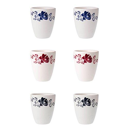 Depot d'argonne 6 Tasses Motif, en CÉRAMIQUE, Bleu/Rouge/Gris, 7.5 x 7.5 x 9 cm