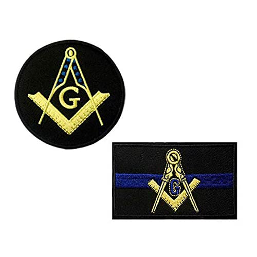 Cute-Patch Blue Line Masonic Flag and Compass Embroidered Iron on sew on Patch Mason Emblem