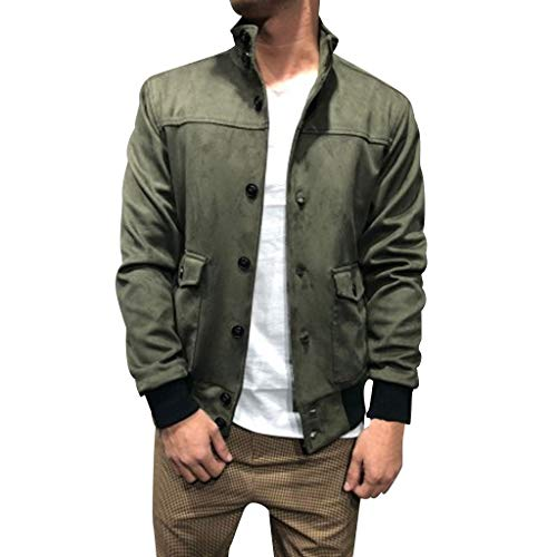 MAYOGO Herren Sweatjacke Button Slim fit Freizeitjacke Streetwear Outdoor Sweeatshirt Strickjacke (Grün, XXXL)