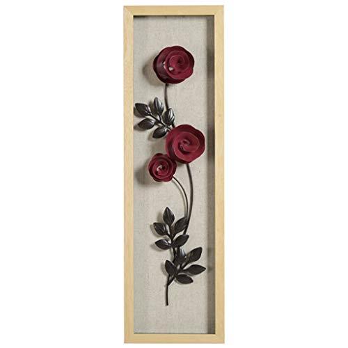 Skulptur Statue Pflanze Blume Rahmen Schmiedeeisen Anhänger Wanddekoration Wohnzimmer Hintergrund Metall Übergroße 3D Stereo 20,2 * 70,2 * 6 cm (Color : Red)