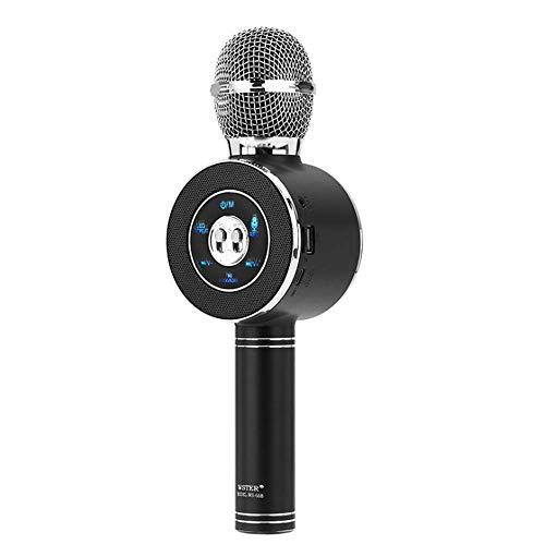Karaoke - Micrófono inalámbrico grabador de altavoces con puerto USB estéreo de 3,5 mm portátil compatible con smartphone negro