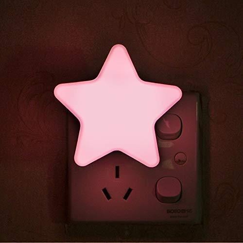 Nachtlicht Steckdose kinder LED Nachtlicht mit Dämmerungssensor baby Steckdosenlicht kinderzimmer Kindernachtlicht Nachtlichter Kinderlicht Schlafzimmer (Rosa Stern)