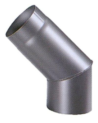 Articolo fumisteria Linea 'Legna':curva 45°, acciaio verniciato,diametro 140 mm.
