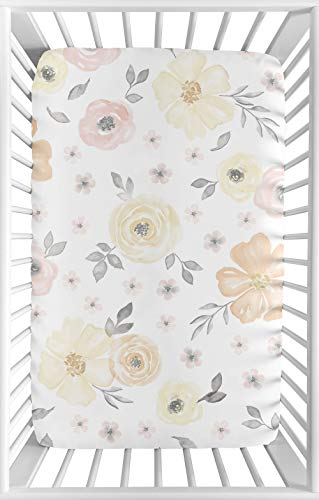Sweet Jojo Designs Yellow and Pink Watercolor Floral Girl Fitted Mini Crib Sheet Baby Nursery For Portable Crib or Pack and Play - Blush Peach Orange Cream Grey White Shabby Chic Rose Flower Farmhouse