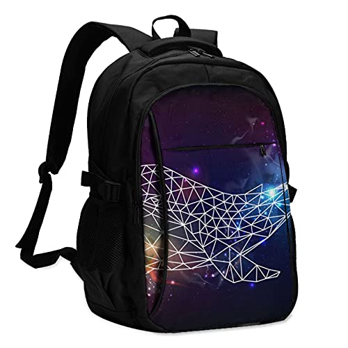 Zaini per computer portatile con Usb Whale Geometrico Poligono Spazio Viaggio Zaino College Scuola Business Notebook Bag Nero