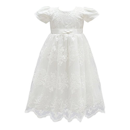 Glamulice Baby Girl Flower Christening Baptism Dress Formal Party Gown Special Occasion Dress, White, 3