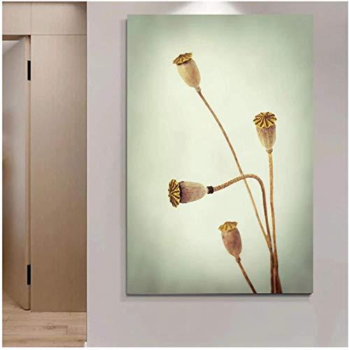 RuiChuangKeJi Arte de Pared 40x60 cm con Marco Elegante Loto Moderno Vintage Flor Lienzo Pintura Pared Arte impresión Zen Cartel Imagen Pared decoración del hogar