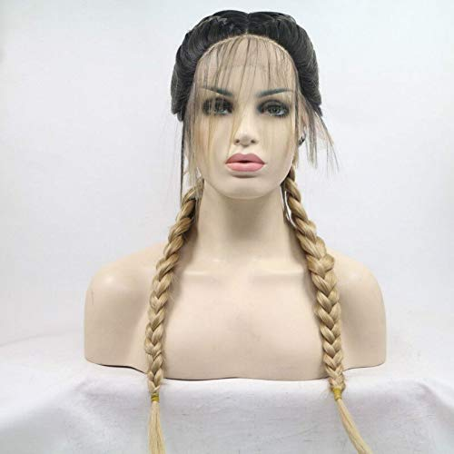 Melody Wig Blonde Double Braids Lace Front Wigs With Dark Roots Middle Part Gold Synthetic Lace Front Wigs Heat Resistant Fiber Hair 24''