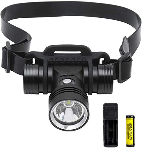 Foco LED sumergible de alta intensidad recargable con batería 18650, 3 modos de iluminación IPX8, foco sumergible sumergible Scuba Submarine Safety Head Lamp para buceo.