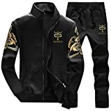 AOTORR Men's Tracksuit Athletic Sports Casual Full Zip Warm Jogging Sweatsuit Black XL