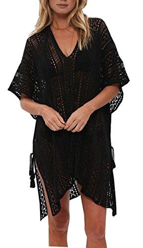 Wander Agio Beach Swimsuit for Women Sleeve Coverups Bikini Cover Up Net Slit Black