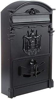Heavy Duty Black Aluminium Lockable Secure Mail Letter Post Box Letterbox New (Color : Black)
