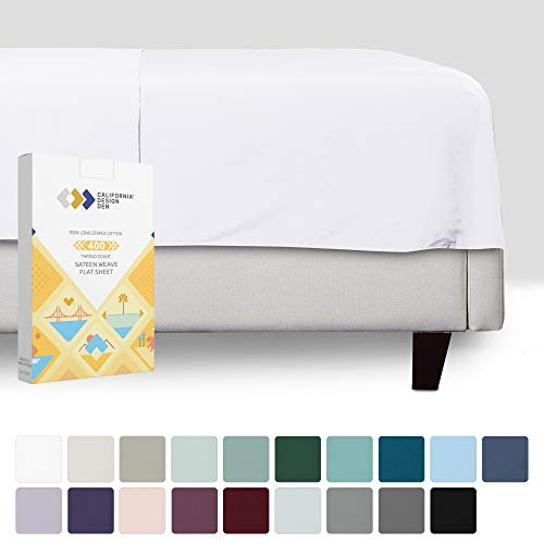 Pure White Flat Sheet Only - 1 Piece California King Size Top Sheet, Long Staple Cotton 400 Thread Count, Premium Finish Sateen Weave Bed Sheet