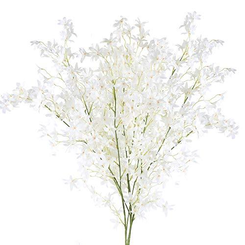 XHXSTORE 3pcs Flores Artificiales Blancas Pequeñas Flor Orquidea Artificial de Seda Flores Artificiales Decoracion Jarrones para Manualidad Boda Fiesta Hogar Mesa Patio Fiesta Bautizo