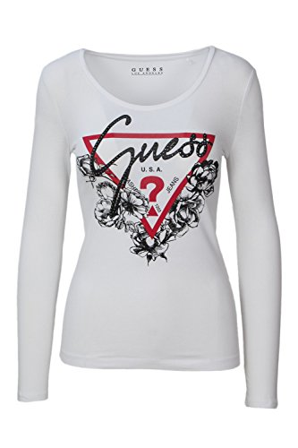 GUESS JEANS W83I40K6YW0 Camiseta con Las Mangas largas Mujer Bianco TWHT XL