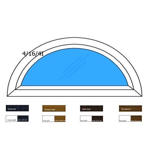 Halbrundbogenfenster Bogenfenster Kunststofffenster Fenster Dachfenster - Klarglas - 2-Fach Verglasung - BxH: 1100 x 500 mm - Farbe: innen weiß/außen weiß